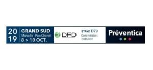 La bannière de DFD sur le salon Préventica 2019